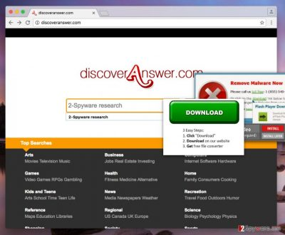 Image showing search engine brought by Discoveranswer.com virus