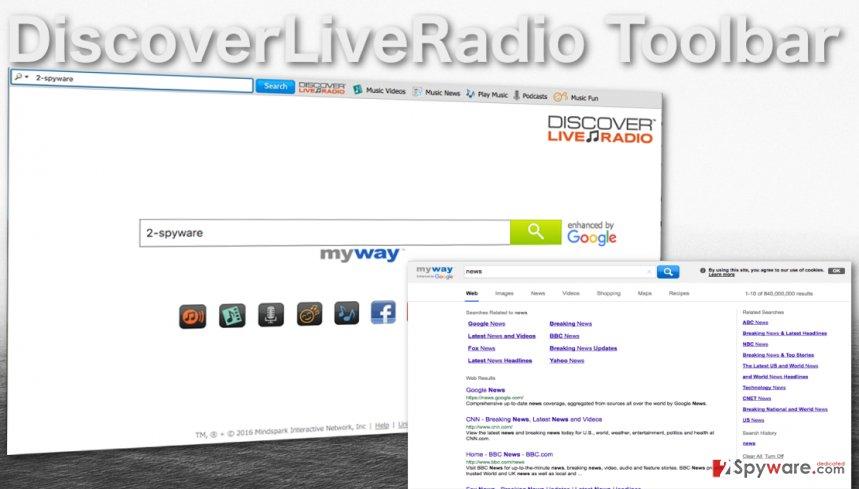 DiscoverLiveRadio Toolbar website screenshot