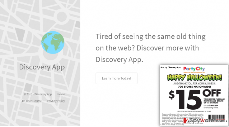 An example of Discovery App page and ads