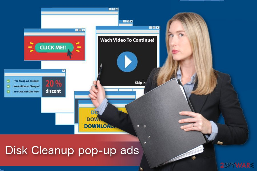 Disk Cleanup pop-up ads illustration
