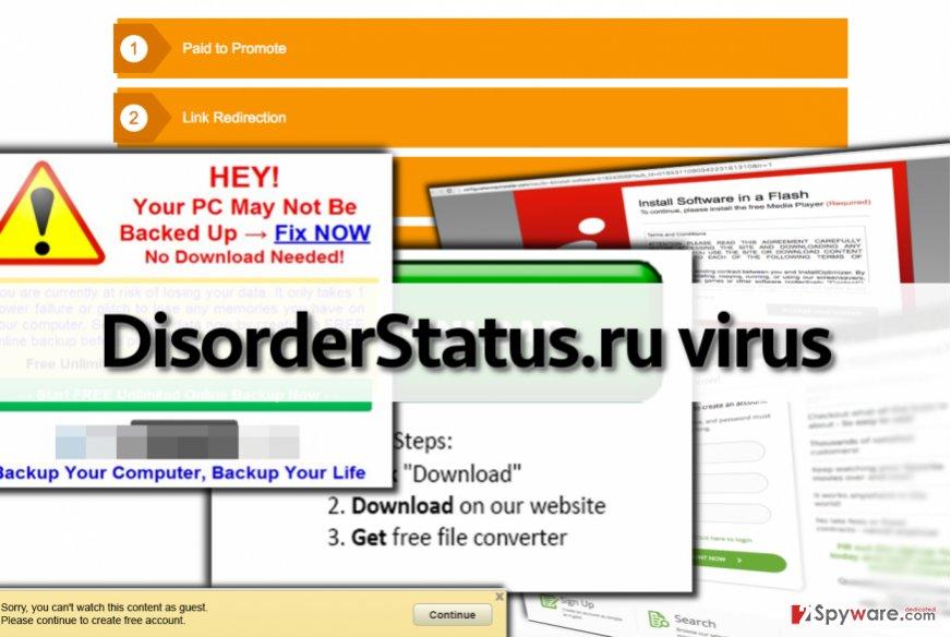 DisorderStatus.ru virus delivers dangerous advertisements