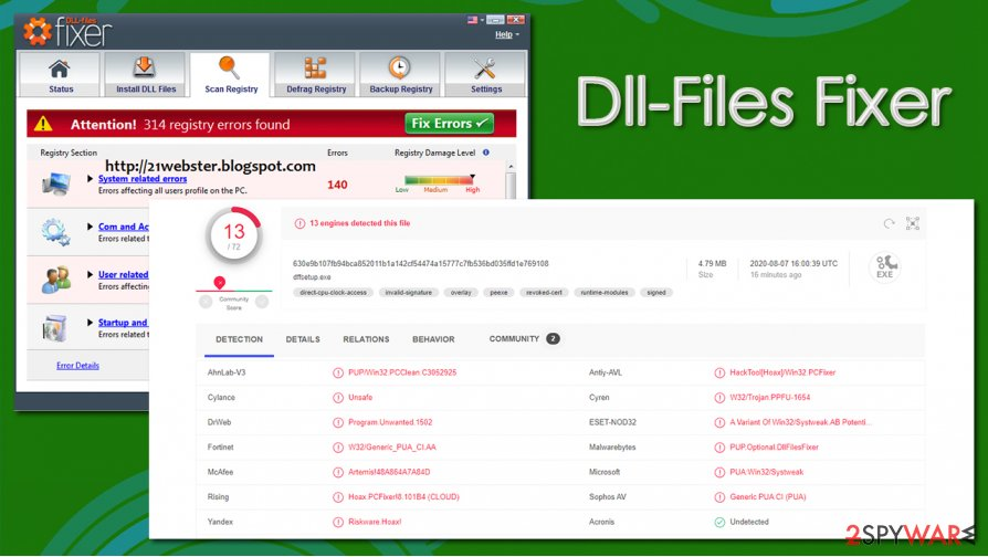 Dll-Files Fixer detection