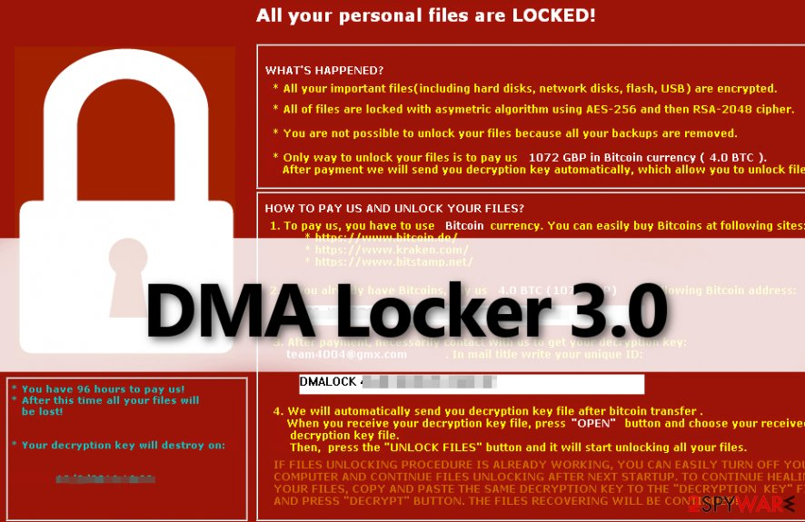 DMA Locker 3.0 virus leaves a threatening ransom note