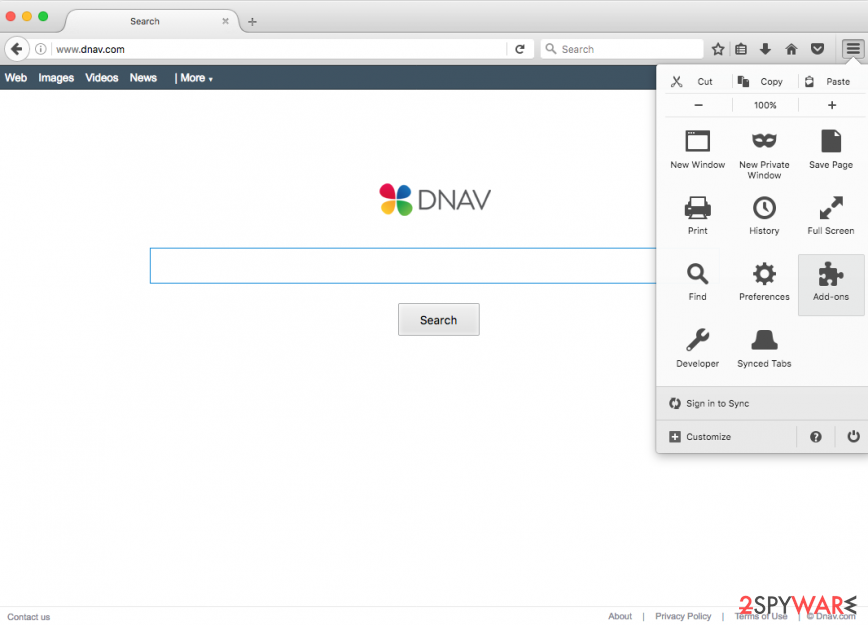 picture showing Dnav.com virus on Mozilla