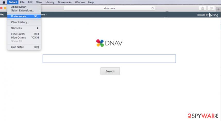 Dnav browser hijacker on Safari