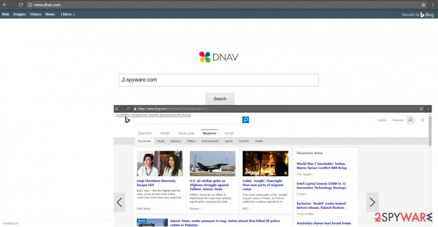 The screenshot of Dnav.com virus