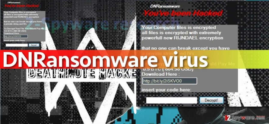 Picture of DNRansomware virus
