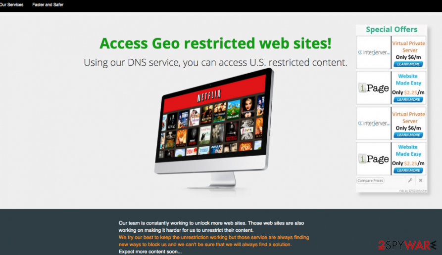 DNS Unlocker version 1.3 ads that show up within Chrome, Firefox, and IE