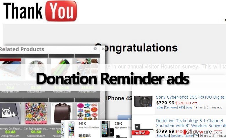 Donation Reminder adware serves different forms of annoying web ads
