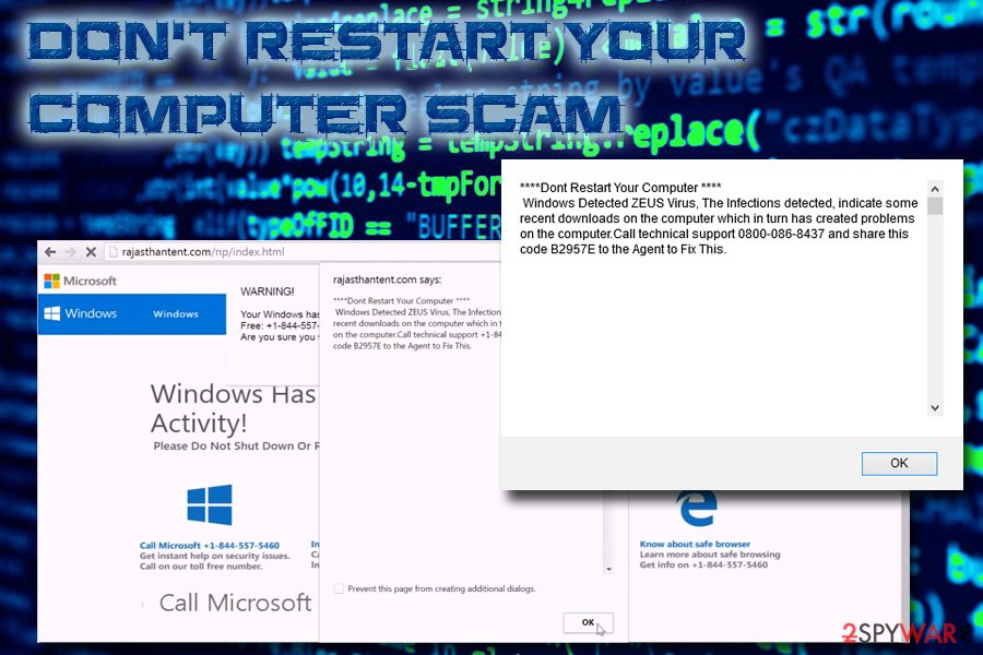 Don't restart your computer scam