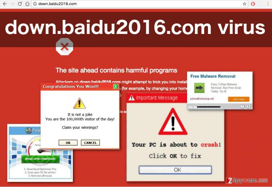 An image of the Down.baidu2016.com adware ads