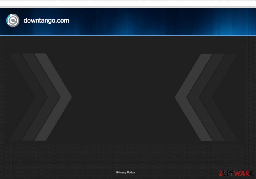 A screenshot of the DownTango virus website