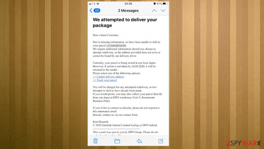 DPD Delivery Email phishing scam