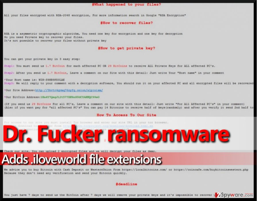Screenshot of ransom note by Dr. Fucker virus