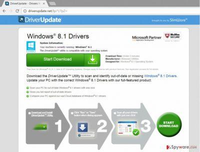 Screenshot of Driverupdate.net virus