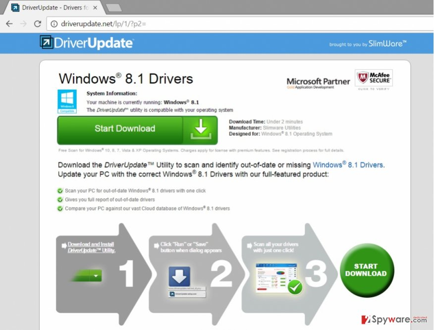 Screenshot of Driverupdate.net virus
