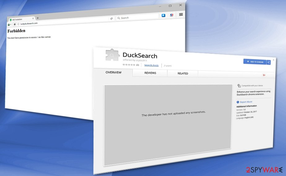 The screenshot of DuckSearch browser plug-in