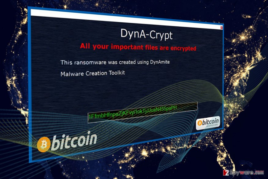 Screenshot of the DynA-Crypt ransomware ransom note
