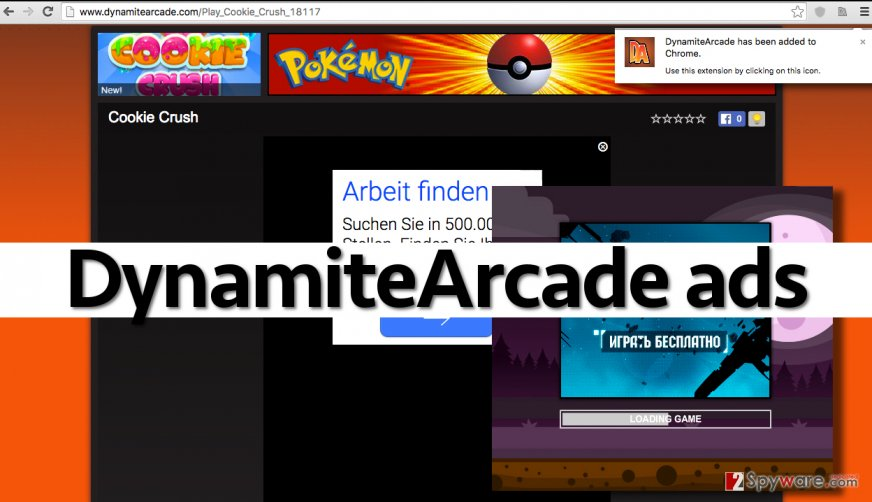 DynamiteArcade adware is an untrustworthy program