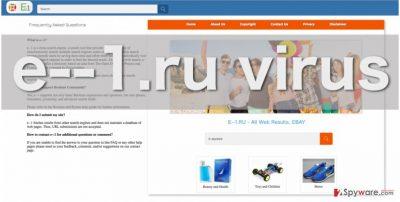 E--1.ru browser hijacker website screenshot