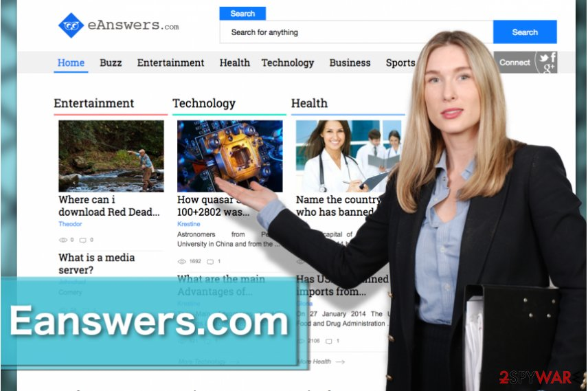 Image of the Eanswers.com browser hijacker virus
