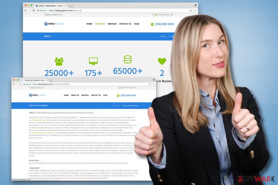 Example of Easysupport.com virus