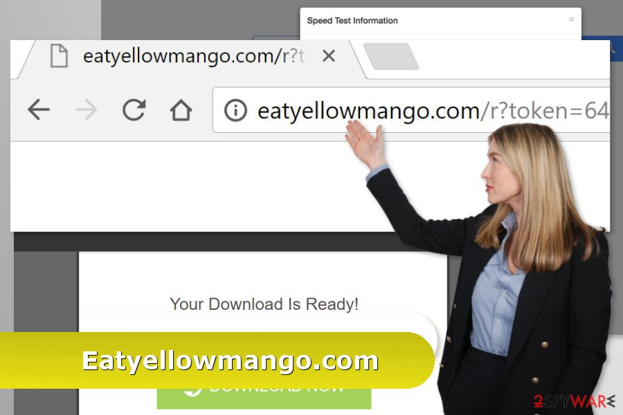Illustration of Eatyellowmango.com virus attack