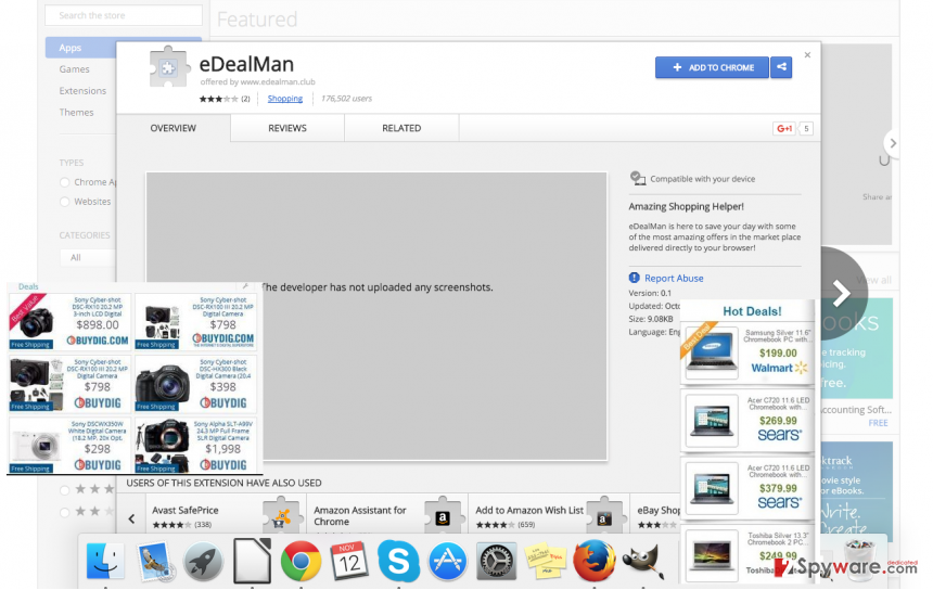 featuring eDealMan's download on Chrome Store that is surrounded by eDealMan ads