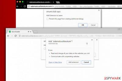 Screenshot of ads offering to install Edematousliterature virus