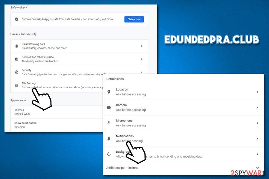 Edundedpra.club termination from Chrome