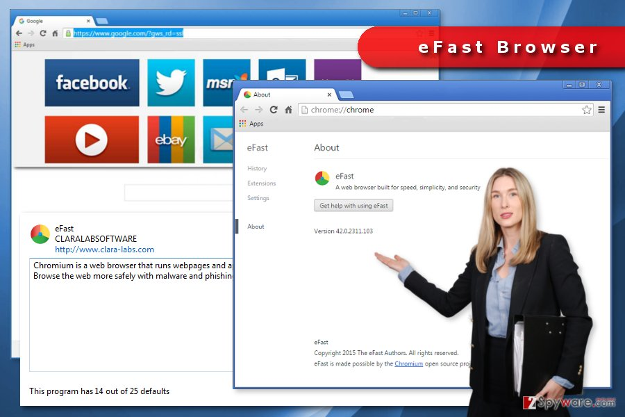 The image of eFast Browser virus