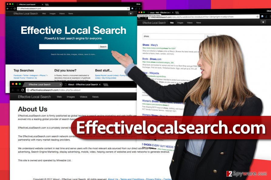 Image of Effectivelocalsearch.com browser hijacker