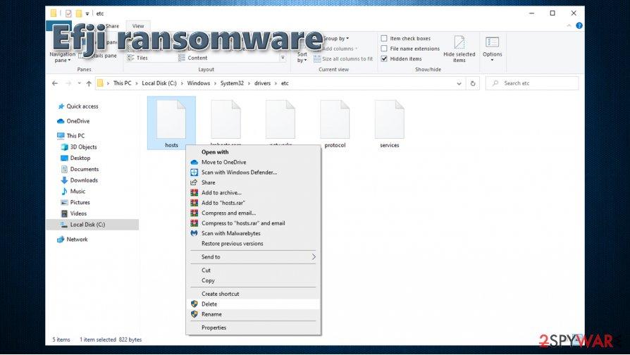 Efji ransomware modifies hosts file