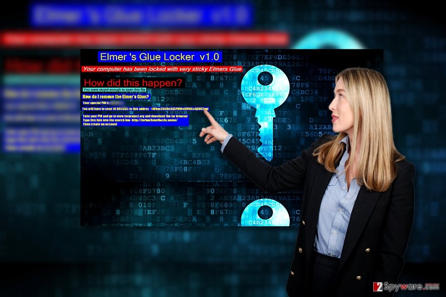 The image illustrating Elmer's Glue Locker ransom alert