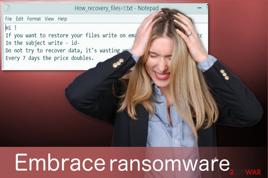 Embrace virus delivers a ransom note