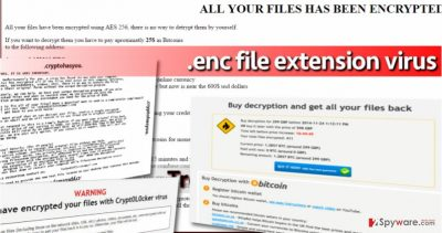 Examples of .enc file extension viruses