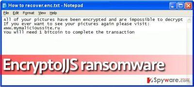 Ransom note left by EncryptoJJS virus