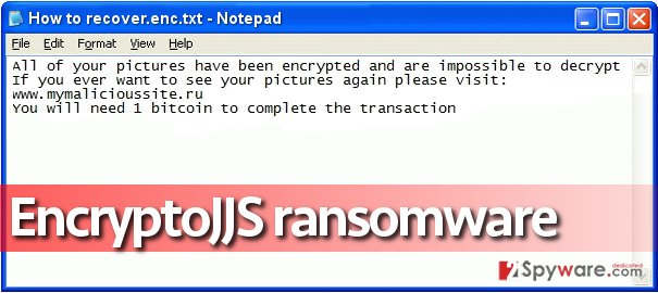 Ransom note left by EncryptoJJS virus