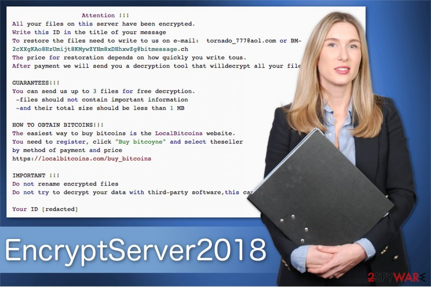 The image of the ransom note by EncryptServer2018 ransomware