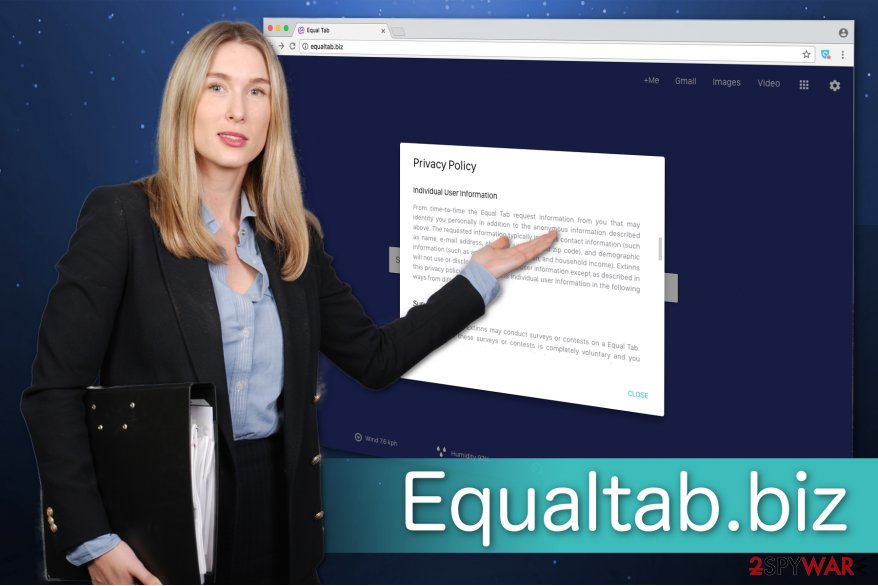 The illustration of Equaltab.biz virus