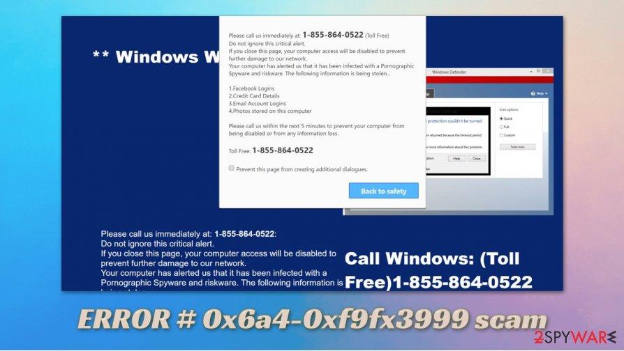ERROR # 0x6a4-0xf9fx3999 scam