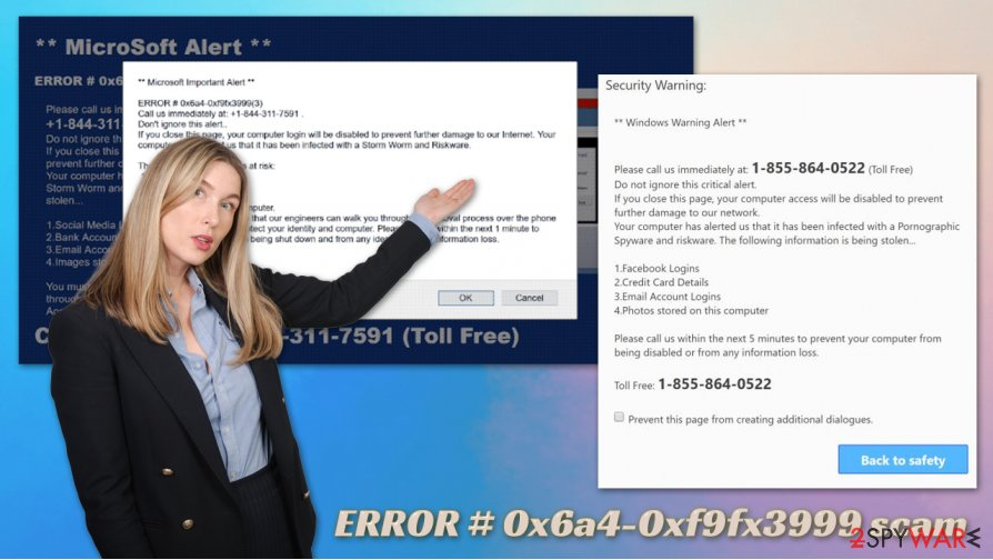 ERROR # 0x6a4-0xf9fx3999 scam virus