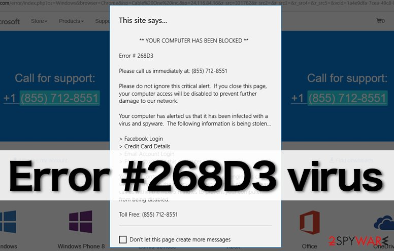 """Error #268D3"" malware sends bogus ads"