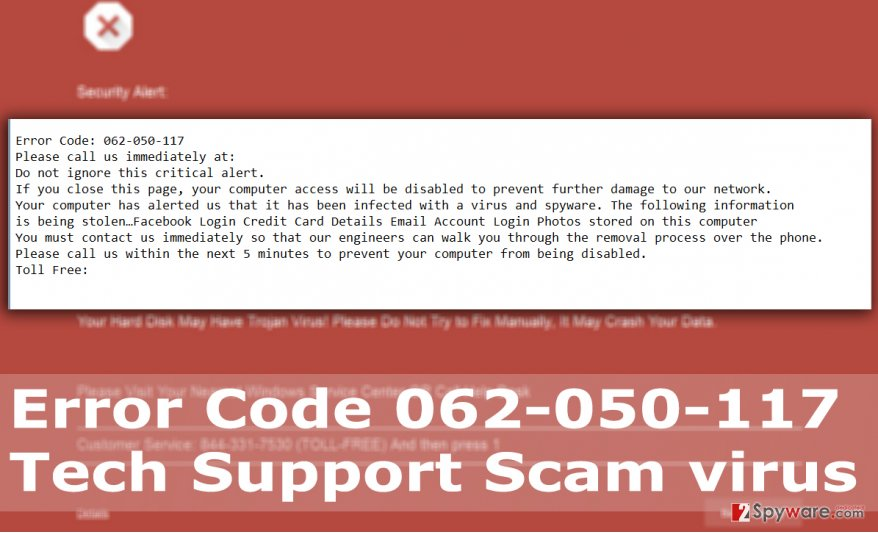Picture of Error Code 062-050-117 Tech Support Scam virus