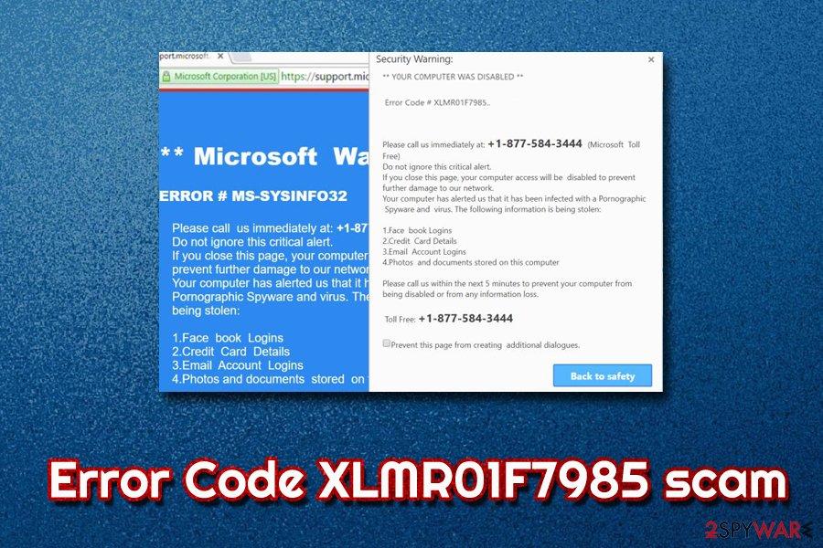Error Code XLMR01F7985 scam