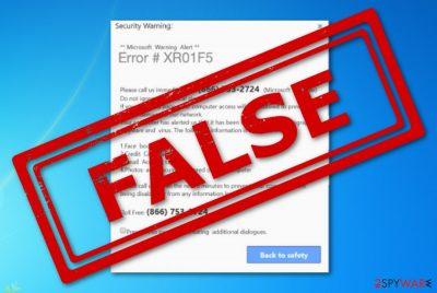 Error XR01F5 pop-up scam