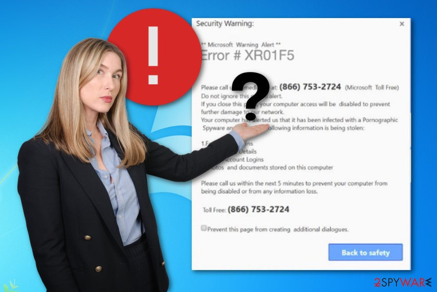 Error XR01F5 scam message