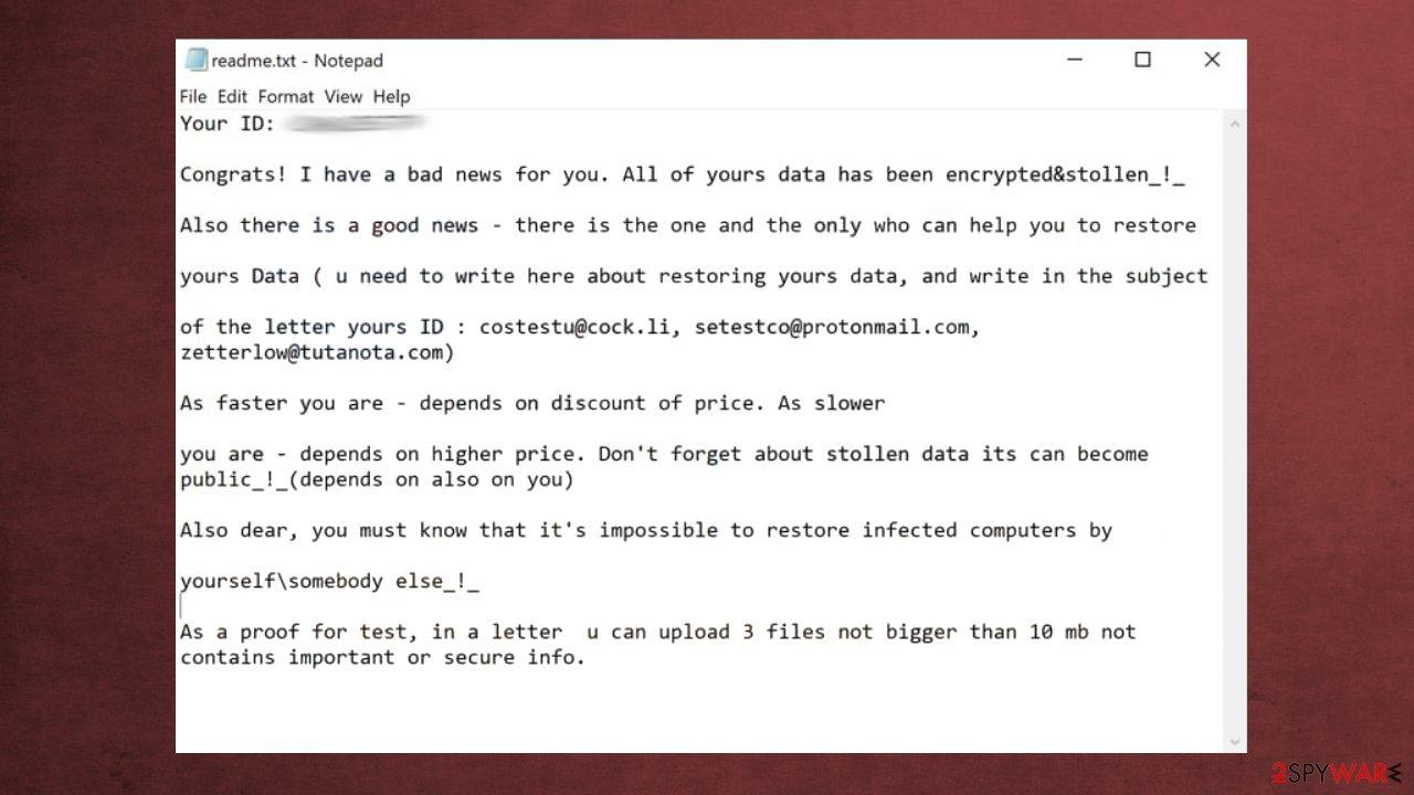 Esexz ransomware