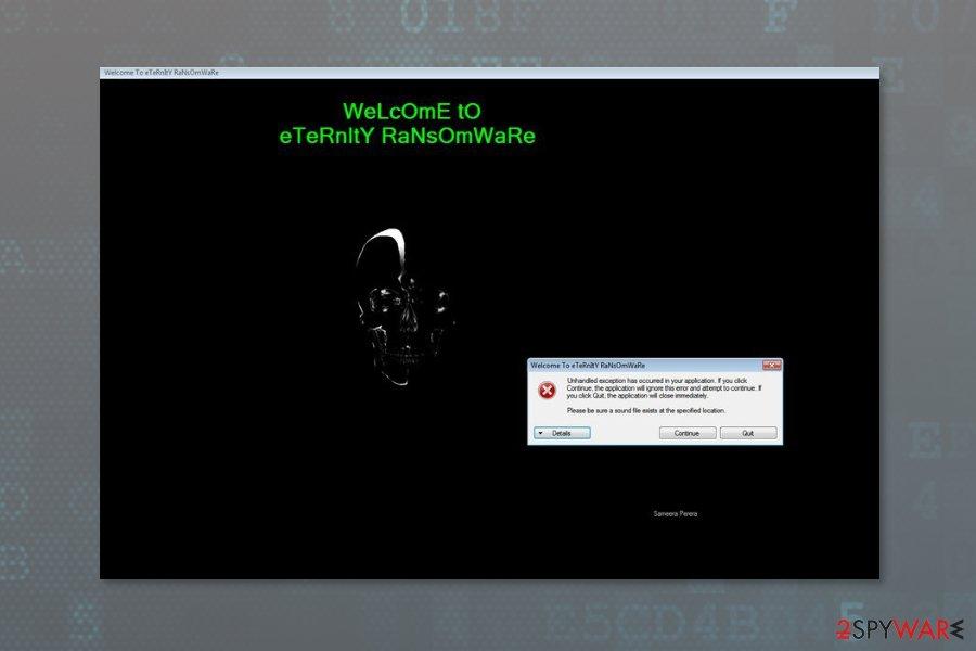 Image of Eternity ransomware virus