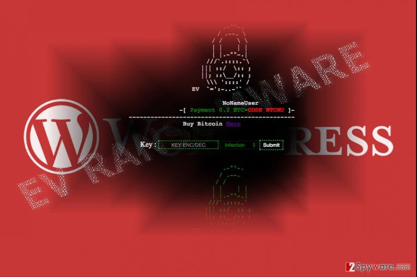 The image displaying the EV malware and WordPress